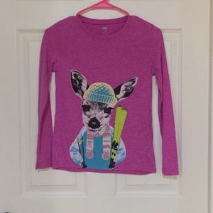 Old Navy Shirts & Tops - Girls Purple Long-sleeve Shirt With a Deer Skiing